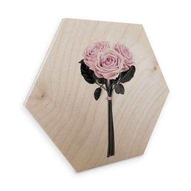 Hexagon - Holz Birke-Furnier Kubistika - Wildrosen
