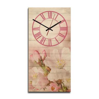 Holz-Wanduhr - Romantische Blüten