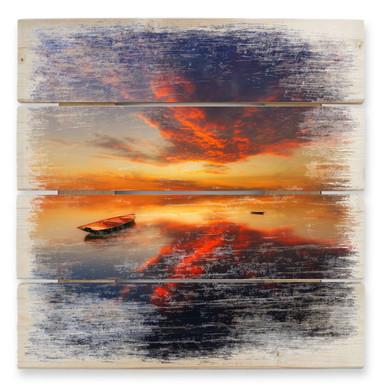 Holzbild Krol - Ein leuchtender Sonnenuntergang - quadratisch