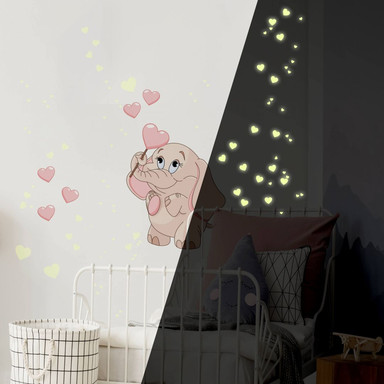Wandsticker Elefantenbaby mit Herzen (rosa) + Leuchtsticker