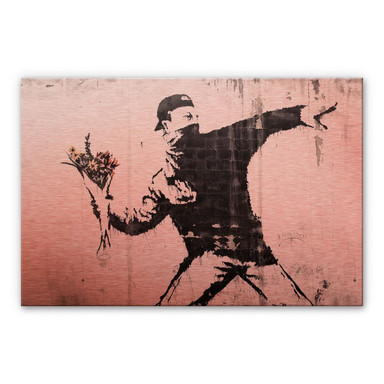Alu-Dibond-Kupfereffekt Banksy - Der Blumenwerfer