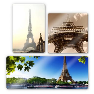 Glasbild Eiffelturm 3 (3-teilig)