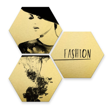 Hexagon - Alu-Dibond-Goldeffekt - Fashion Mode (3er Set)
