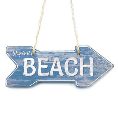 Holzschild Beach mit Sisalseil