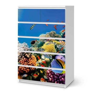 Möbel Klebefolie IKEA Malm Kommode 6 Schubladen (hoch) - Coral Reef- Bild 1