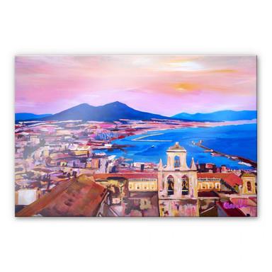 Acrylglasbild Bleichner - Naples with Mount Vesuvio