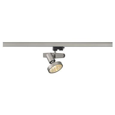 Sleek G12 Spot für 3-Phasen-Stromschiene in silbergrau, 70W, inkl. 12° Reflektor und Adapter