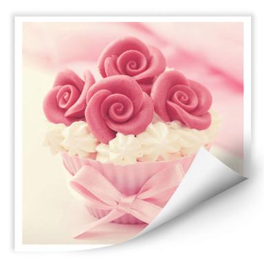 Wallprint Roses on Cupcake
