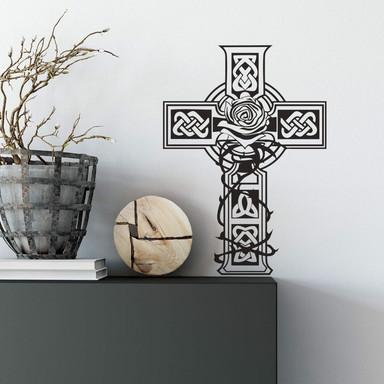 Wandtattoo Keltisches Kreuz mit Rose