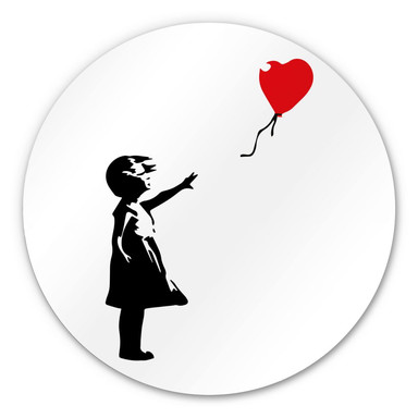 Alu-Dibond Banksy - Girl with the red balloon - Rund