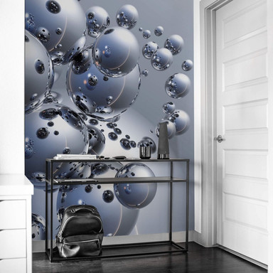 Fototapete - 3D Silber-Kugeln
