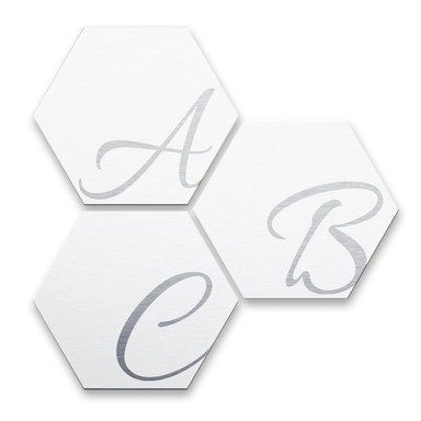 Hexagon Buchstaben - Alu-Dibond Silbereffekt - Weiss