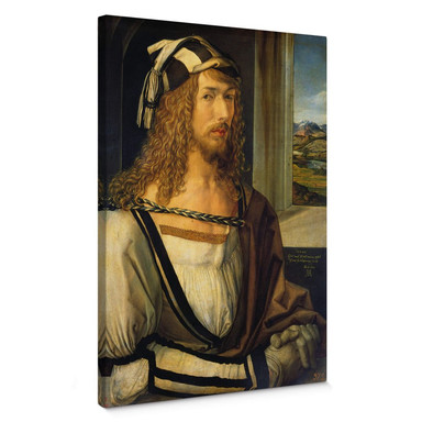 Leinwandbild Dürer - Selbstbildnis mit Landschaft