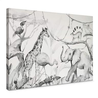 Leinwandbild Kvilis - Tierfreunde im Dschungel - schwarz-weiss