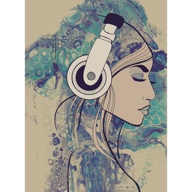 Livingwalls Fototapete ARTist Acryl Lady mit Aquarell Zeichnung beige, blau, türkis - Bild 1