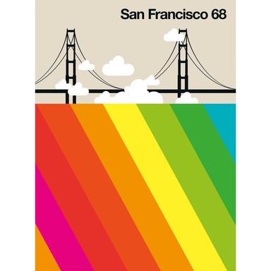 Livingwalls Fototapete ARTist San Francisco 68 Golden Gate Bridge beige, gelb, grün, orange, rosa, rot, schwarz, türkis, weiss - Bild 1