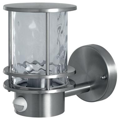 Wandleuchte Endura in Silber und Transparent E27 IP44 mit Bewegungsmelder