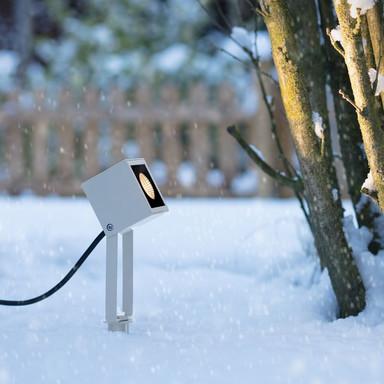 famlights | LED Erdspiessleuchte Vincent aus Aluminium in Weiss-matt 470 Lumen
