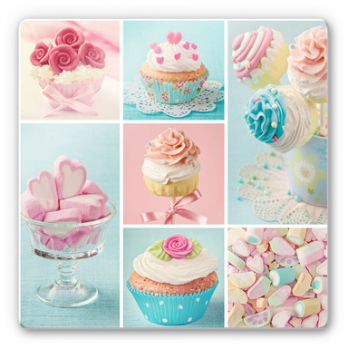 Glasbild Cupcake Collage