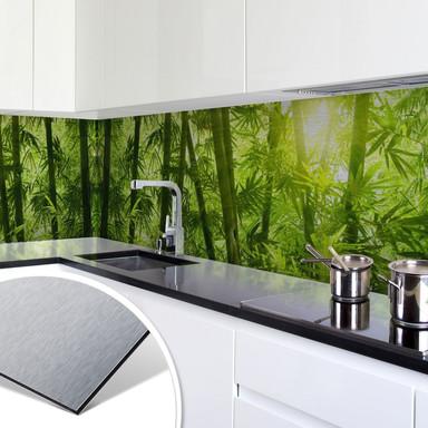 Küchenrückwand - Alu-Dibond-Silber - Sonnenschein im Bambuswald