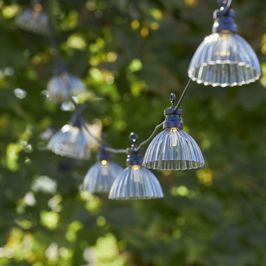 LED Party-Kette Circus Shade in Grau 12-flammig IP44