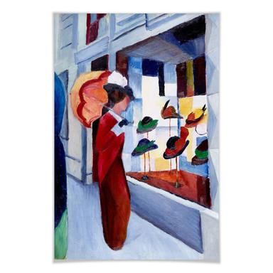Poster Macke - Frau mit Sonnenschirm vor Hutladen