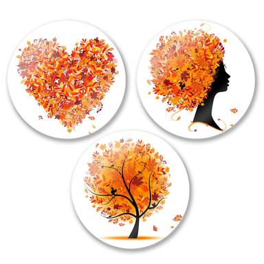 Glasbild Herbst Set (3-teilig) - rund