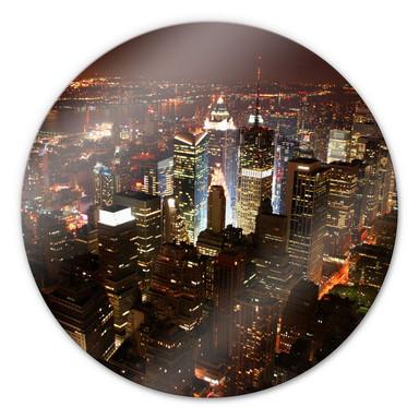Glasbild Manhattan - rund