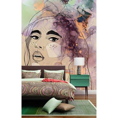 Livingwalls Fototapete ARTist Lady mit Aquarell Zeichnung beige, grün, orange, schwarz, violett - Bild 1