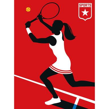 Livingwalls Fototapete ARTist Tennisplayer rot, schwarz, weiss - Bild 1