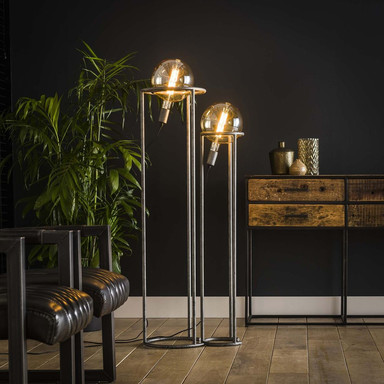 famlights | Stehleuchte Leia in Silber E27 2-flammig