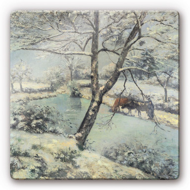 Glasbild Pissarro - Winterlandschaft bei Mont-Foucault