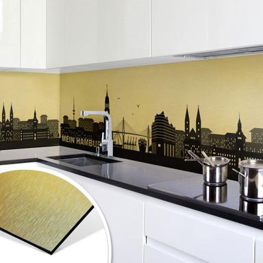 Küchenrückwand - Alu-Dibond Goldeffekt - Mein Hamburg
