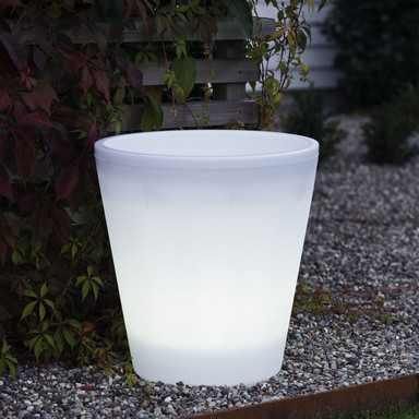 LED Pflanzentopf Assisi aus Kunststoff in weiss, 400 mm hoch