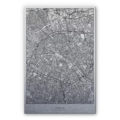 Alu-Dibond-Silbereffekt Stadtplan Paris
