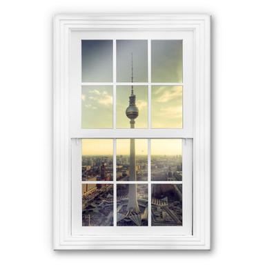 Glasbild 3D Fenster - Berliner Fernsehturm