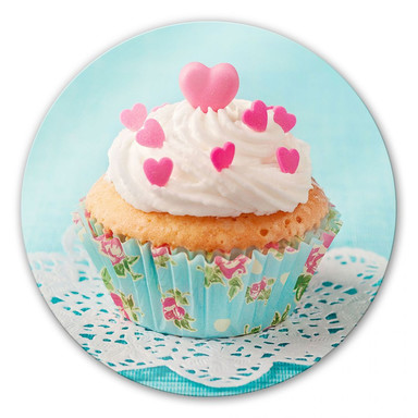 Glasbild Hearts on Cupcake - rund