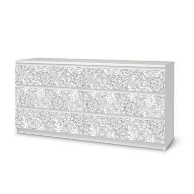 Möbelfolie IKEA Malm Kommode 6 Schubladen (breit) - Flower Lines 2