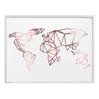Poster Origami Weltkarte - Roségold-Optik