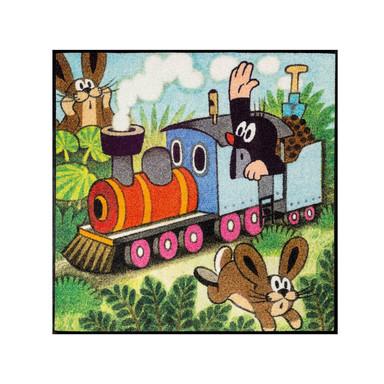 Wash&Dry Fussmatte Der kleine Maulwurf - fährt Zug 85x85cm