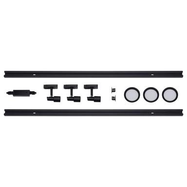 famlights | 1-Phasen Schienensystem-Set in Schwarz 2 Meter inkl. 3 Spots inkl. Leuchtmittel