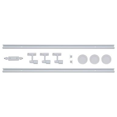 famlights | 1-Phasen Schienensystem-Set in Weiss 2 Meter inkl. 3 Spots inkl. Leuchtmittel