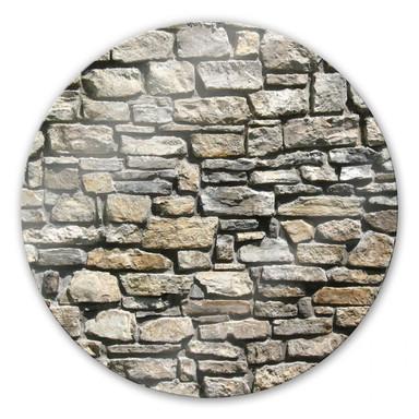 Glasbild Natursteinmauer - rund