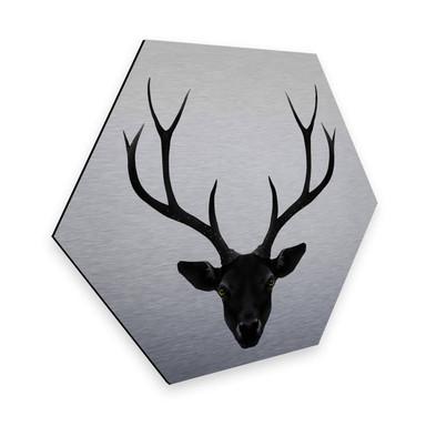 Hexagon - Alu-Dibond-Silbereffekt - Ireland - The Black Deer