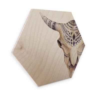 Hexagon - Holz Birke-Furnier - Kvilis - Boho Skull