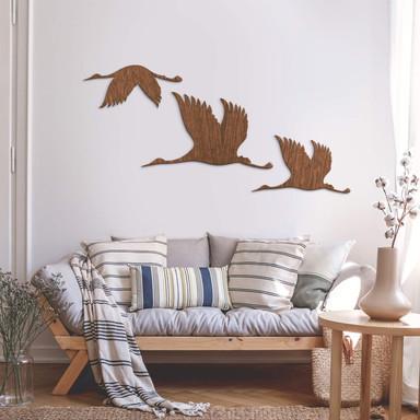 Holzkunst Mahagoni - Kraniche - Vogelschwarm 01
