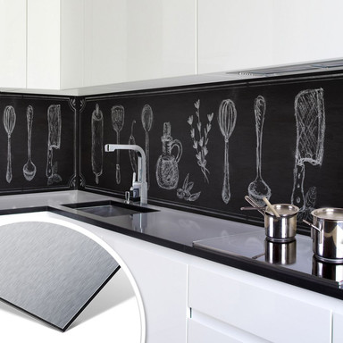 Küchenrückwand - Alu-Dibond-Silber - Rustic Kitchen