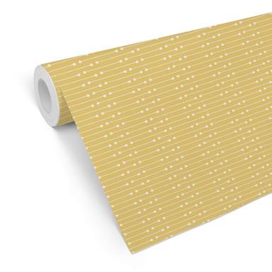 Mustertapete Striche und Punkte - gelb