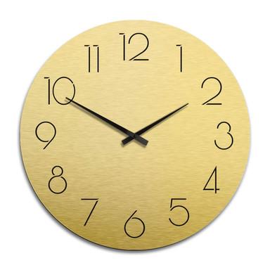 XXL Wanduhr Alu Dibond Goldeffekt - Modern nur mit Zahlen Ø 70cm - Bild 1