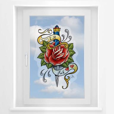 Fensterbild LA Ink Dolch mit Rose